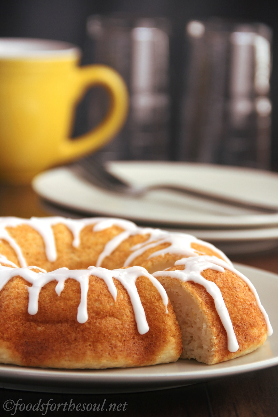 ricotta bundt cake with almond drizzle