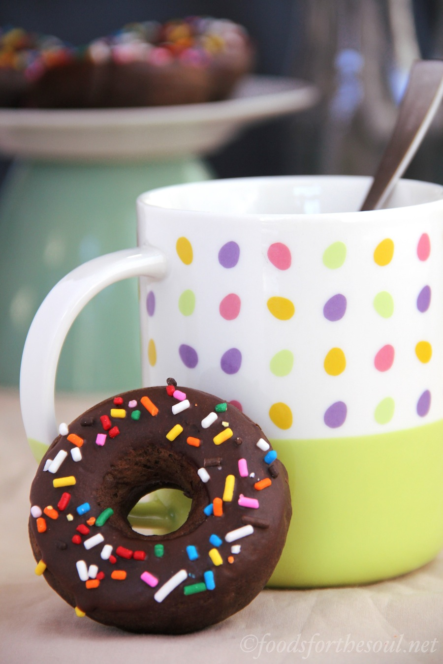 Baked Chocolate Sprinkle Donuts -- an easy, guilt-free recipe!