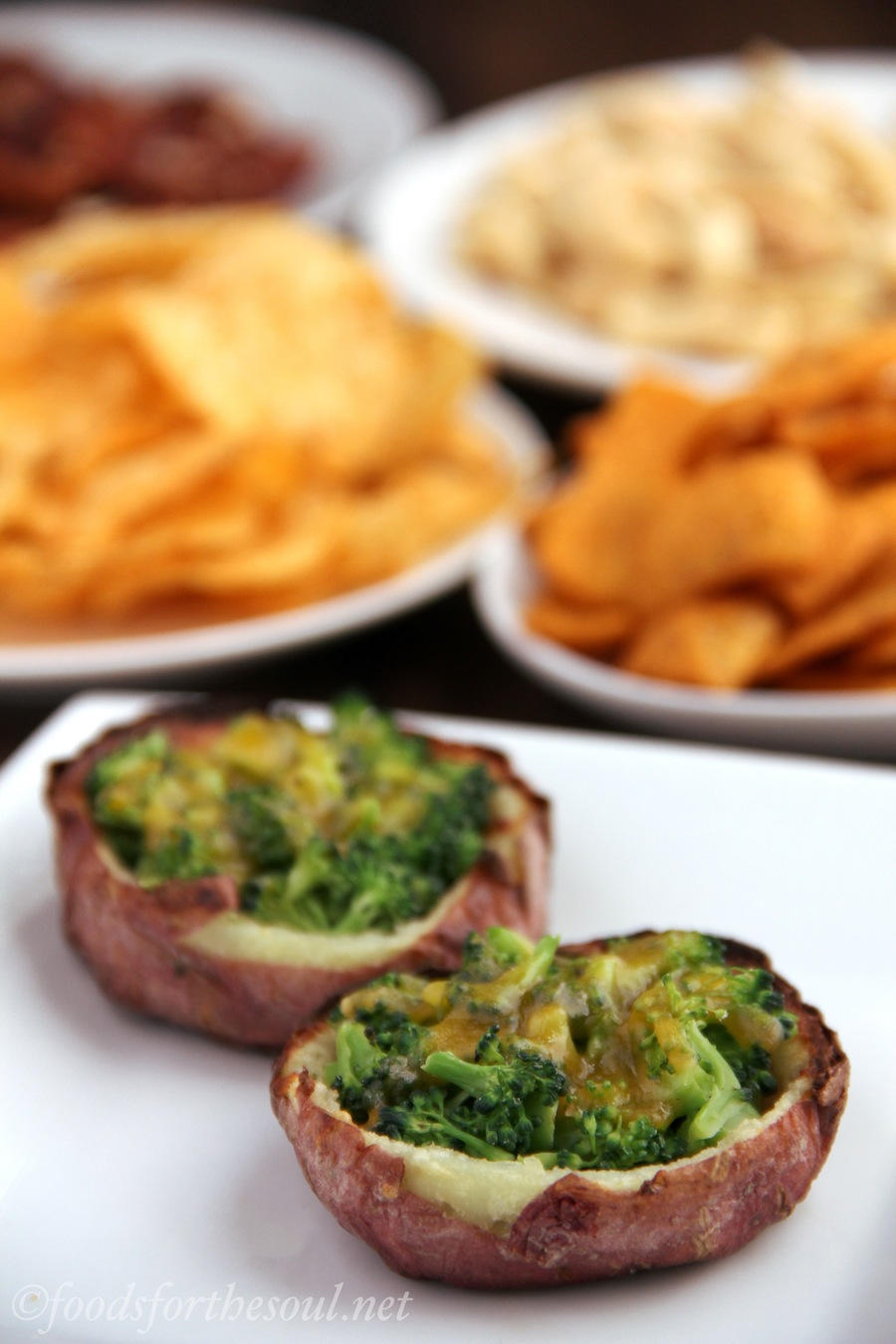 Broccoli Cheddar Potato Skins | Amy's Healthy Baking