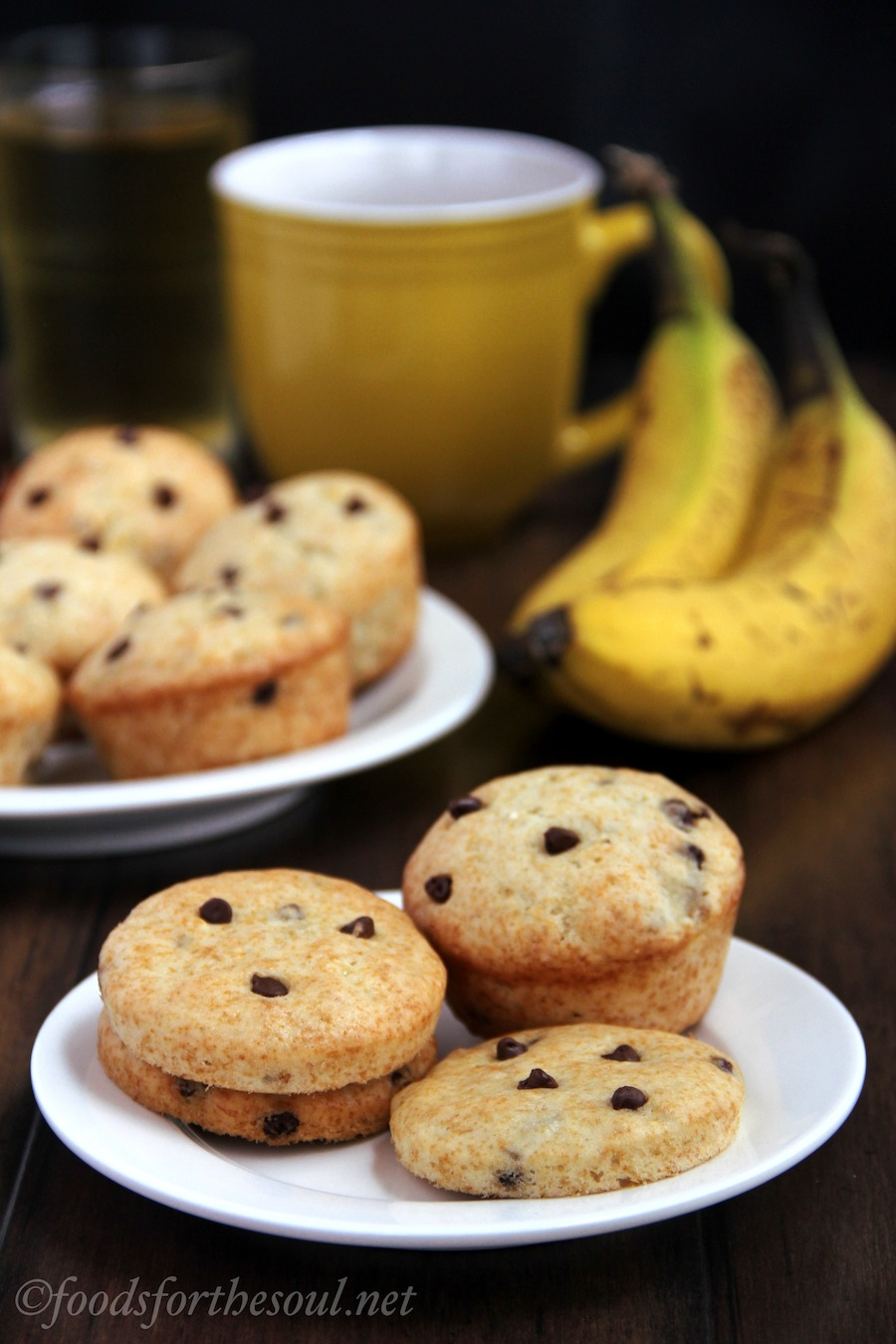 banana chocolate chip muffins and muffin tops