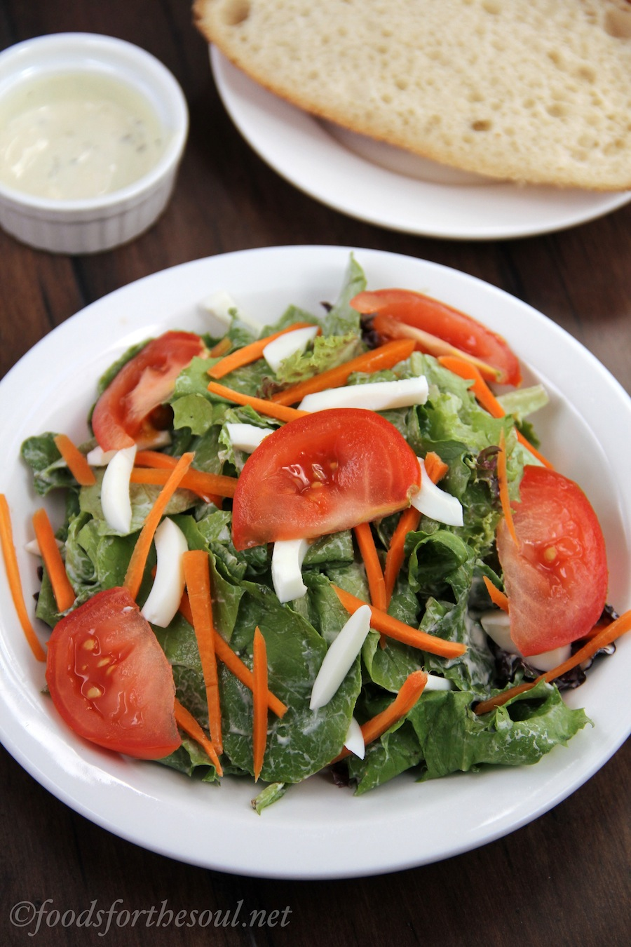 carrot, tomato, and egg salad with creamy dijon dressing