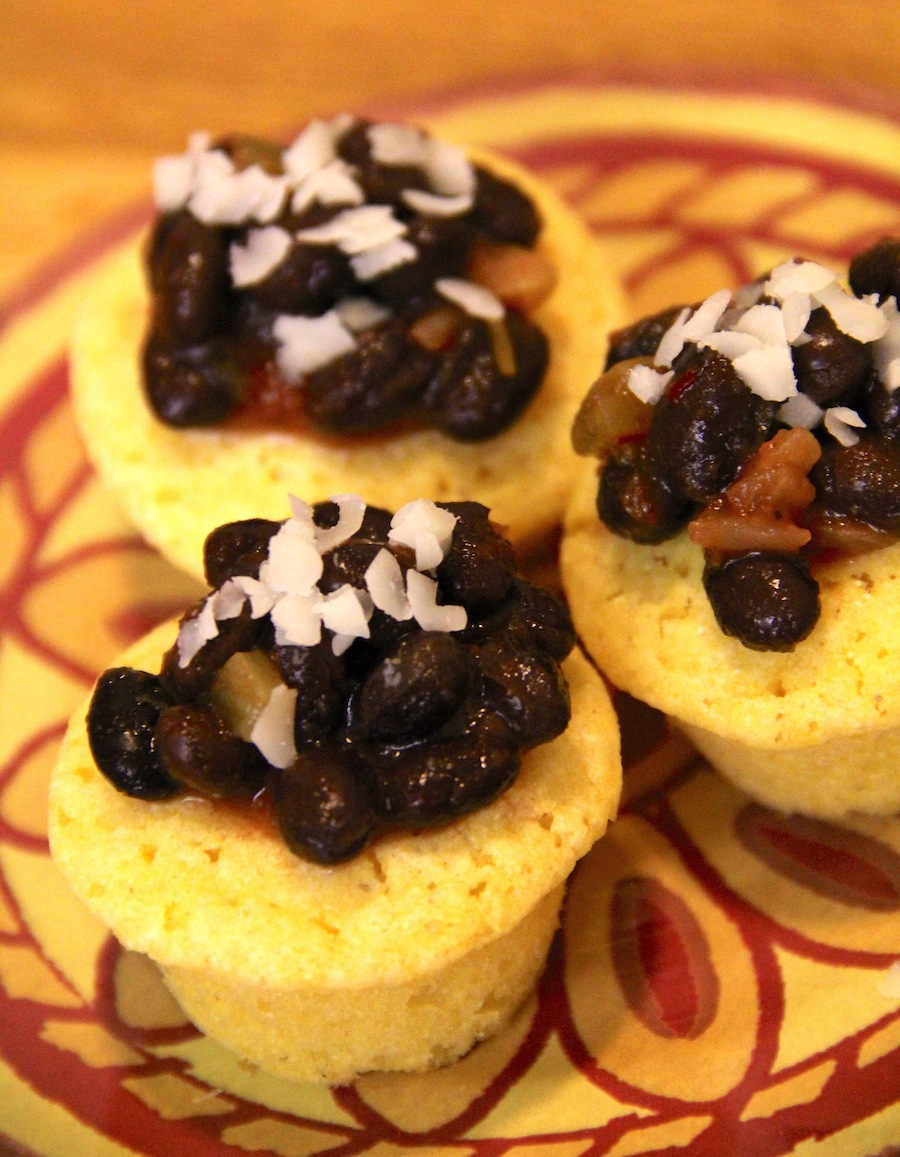 cornbread muffin and black bean bites