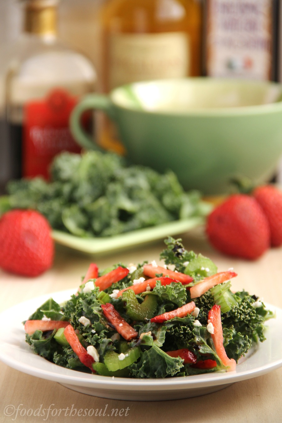 kale salad with strawberries and celery