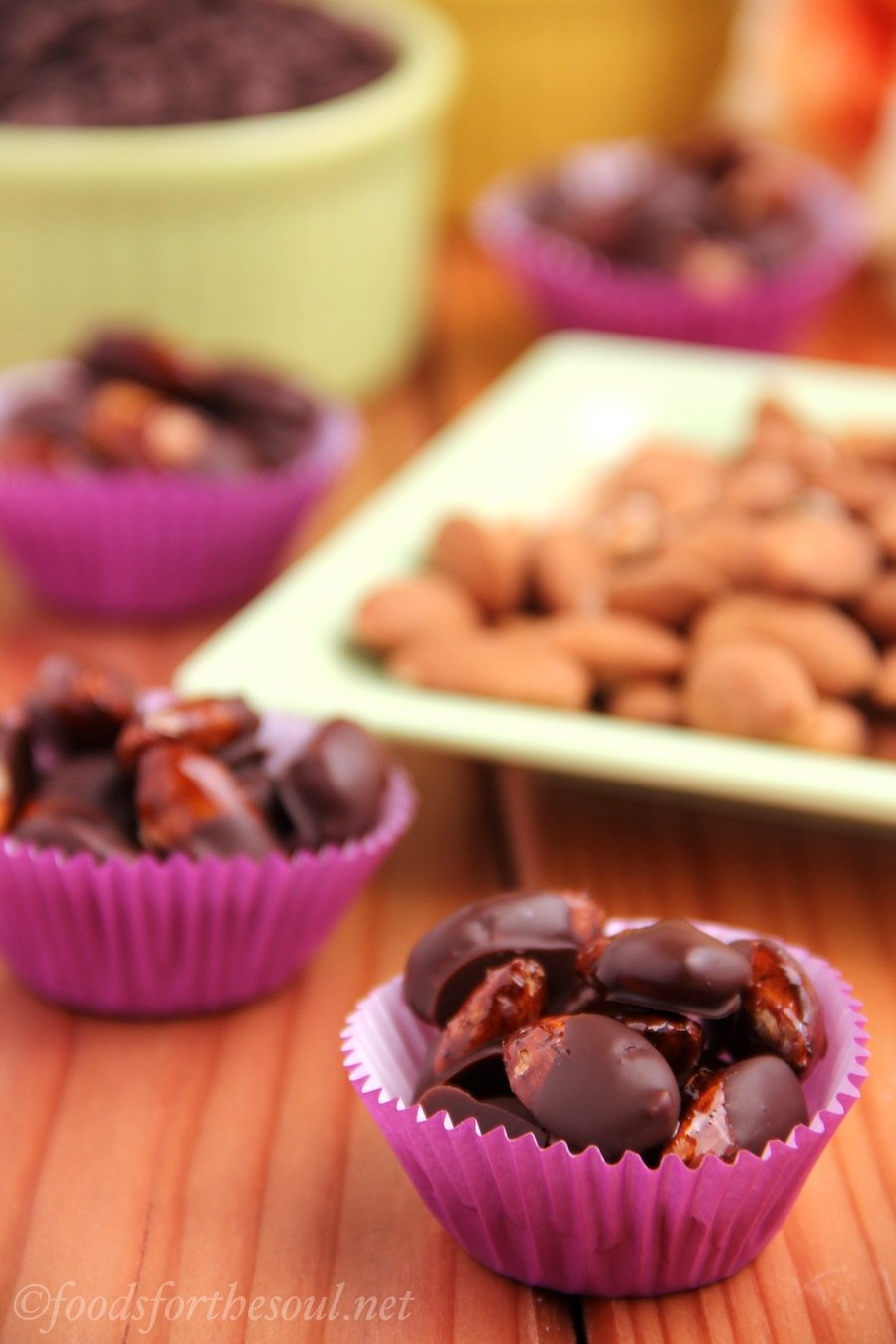 dark chocolate coated spicy candied almonds