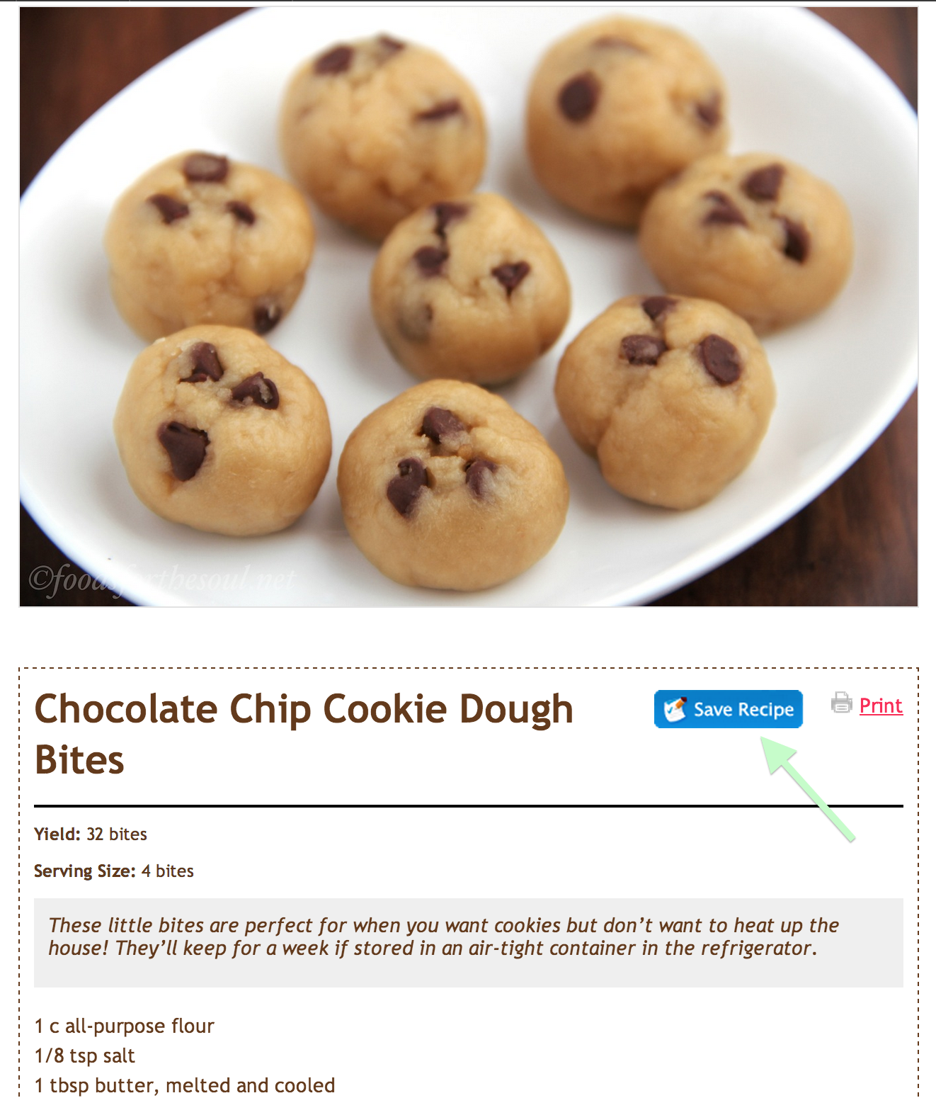 ZipList Save Recipe | Chocolate Chip Cookie Dough Bites | by Foods for the Soul
