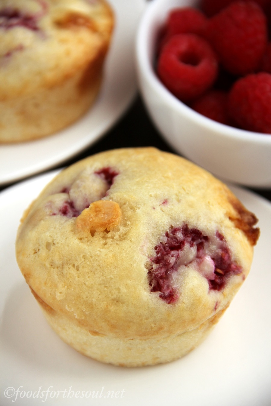 White Chocolate Raspberry Muffins   by Foods for the Soul
