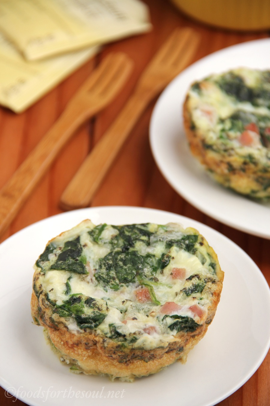 Egg White, Ham, & Spinach Quiches | by Foods for the Soul {foodsforthesoul.net}