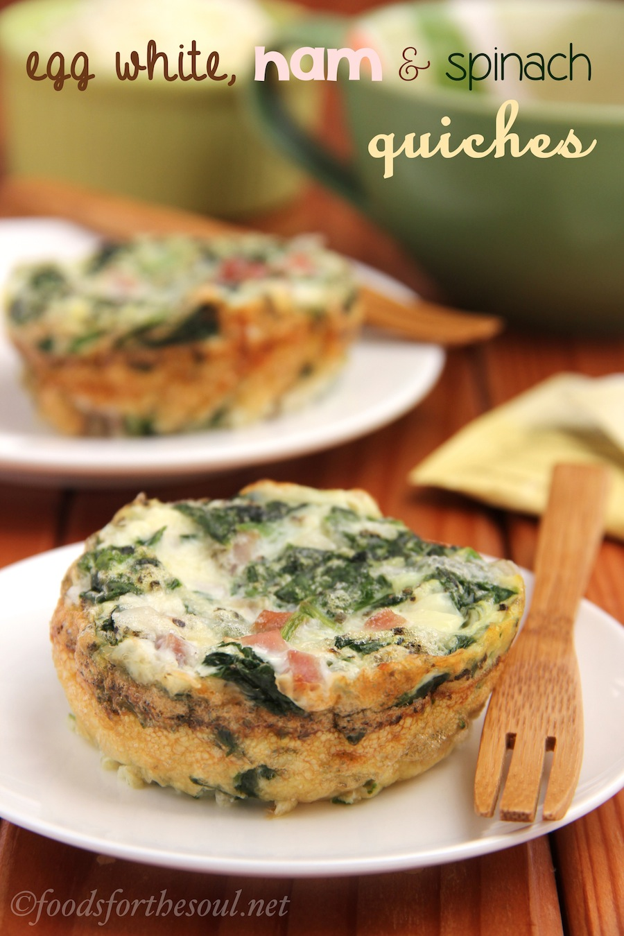 Egg White Ham Spinach Quiches Amy S Healthy Baking