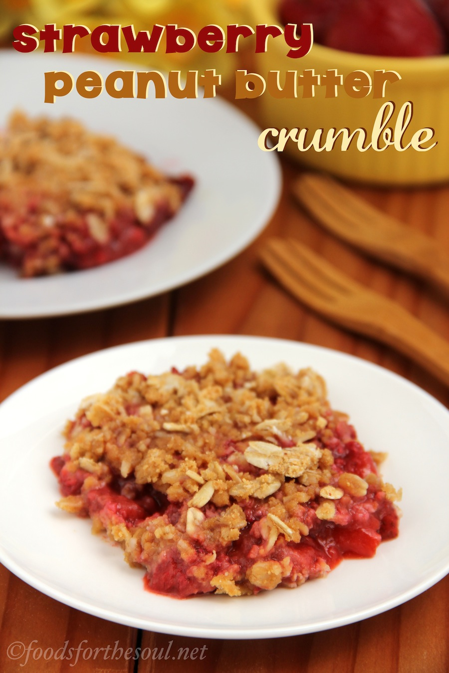 Strawberry Peanut Butter Crumble recipe -- like a PB&J as a dessert!
