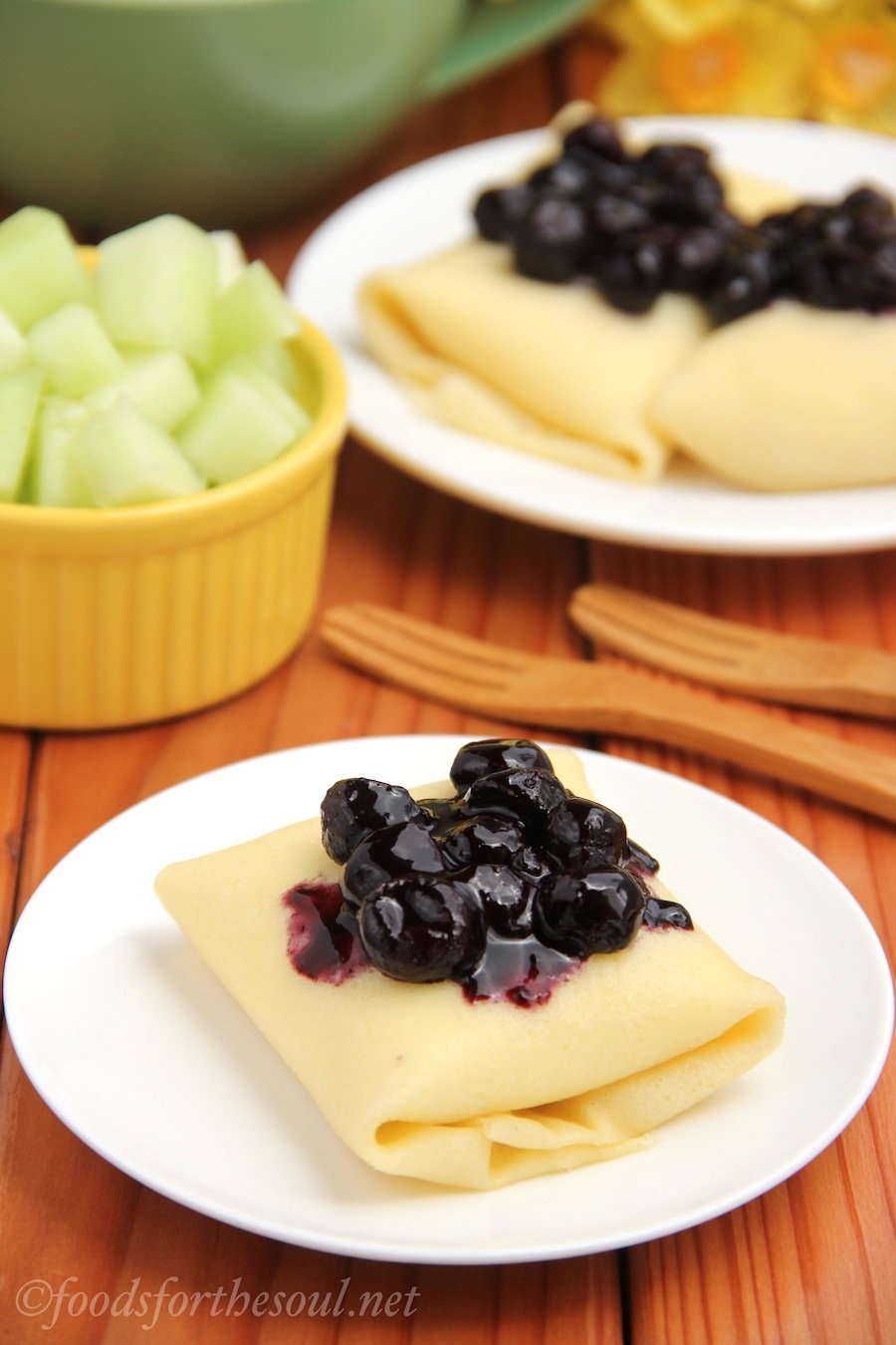 Blueberry Blintzes -- an easy lightened recipe that tastes extra indulgent!