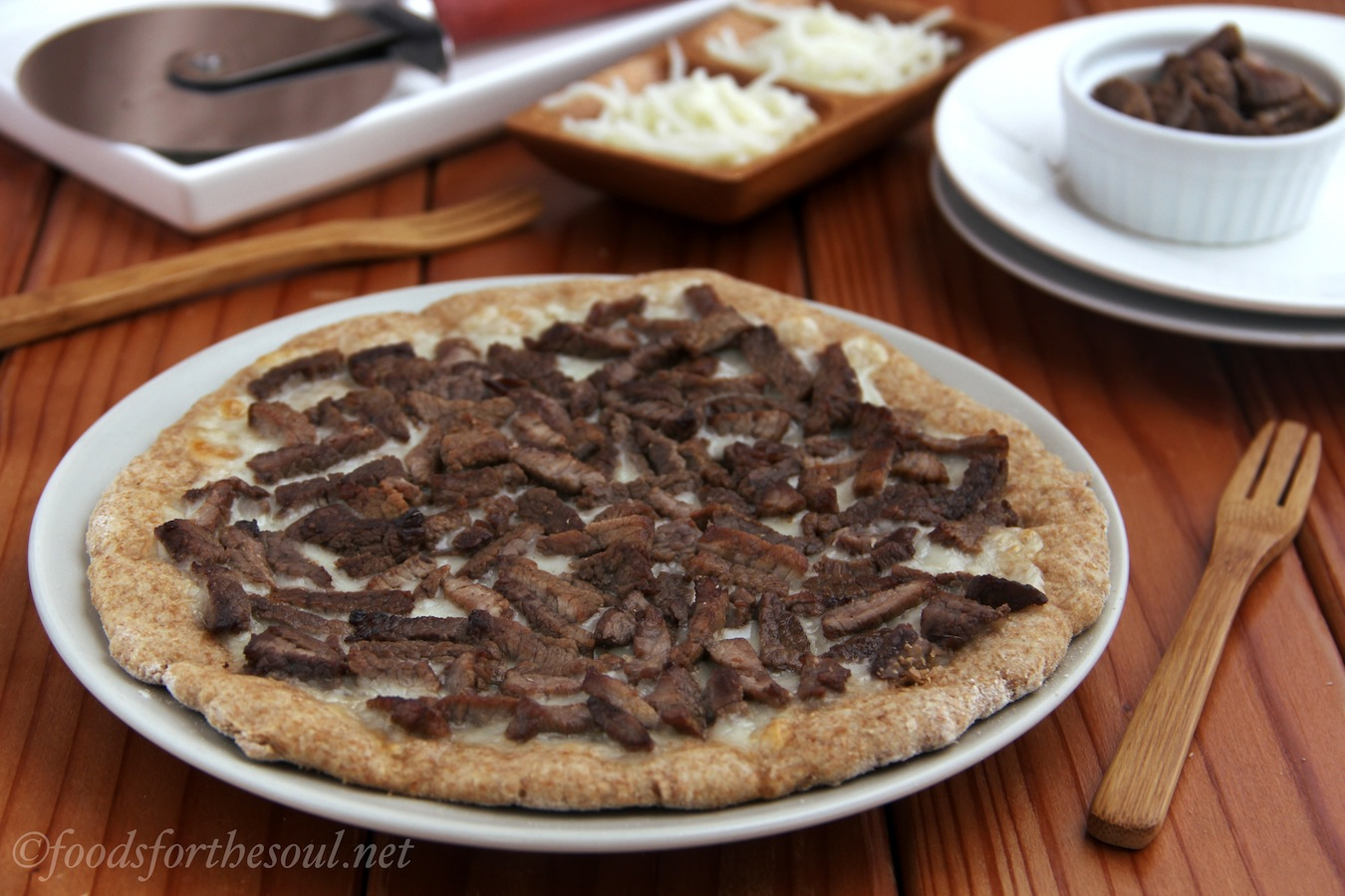 Philly Cheesesteak Flatbread | by Foods for the Soul {foodsforthesoul.net}