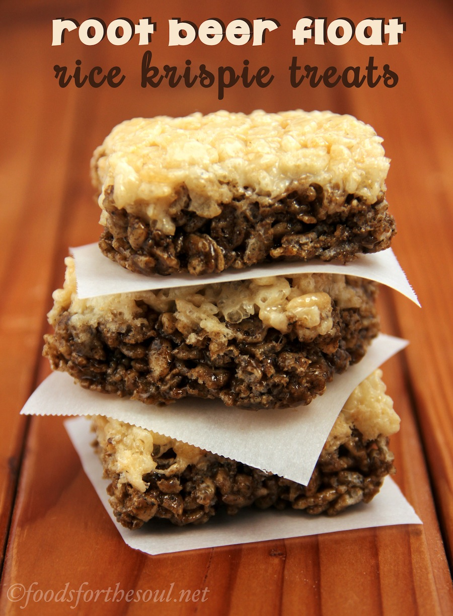 Root Beer Float Rice Krispie Treats -- they taste just like the drink but won't melt!