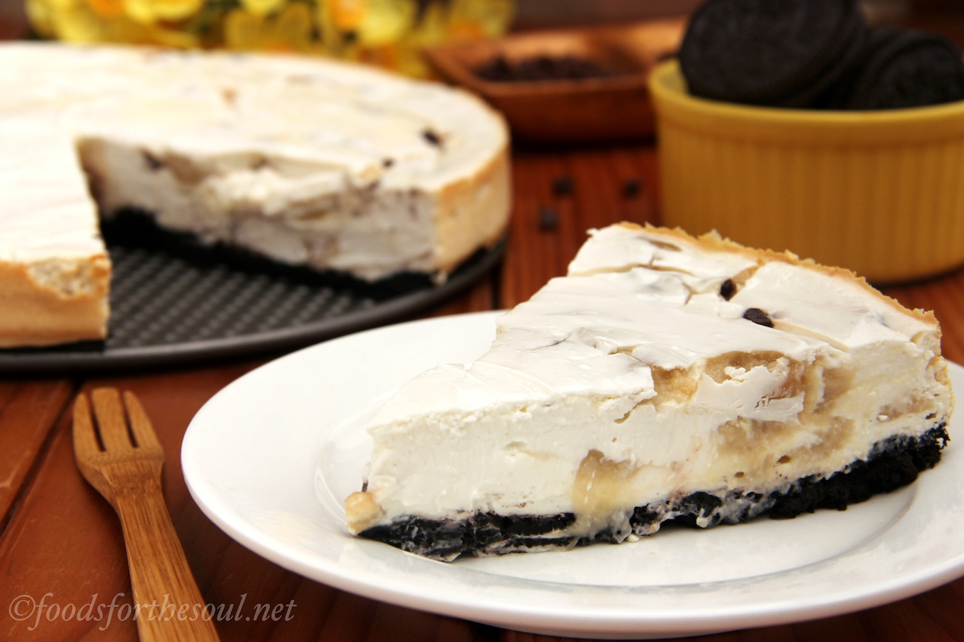 Chocolate Chip Cookie Dough Cheesecake. You could eat 4 slices of this and still consume fewer calories than from 1 piece of the Cheesecake Factory's!   by Foods for the Soul {foodsforthesoul.net}