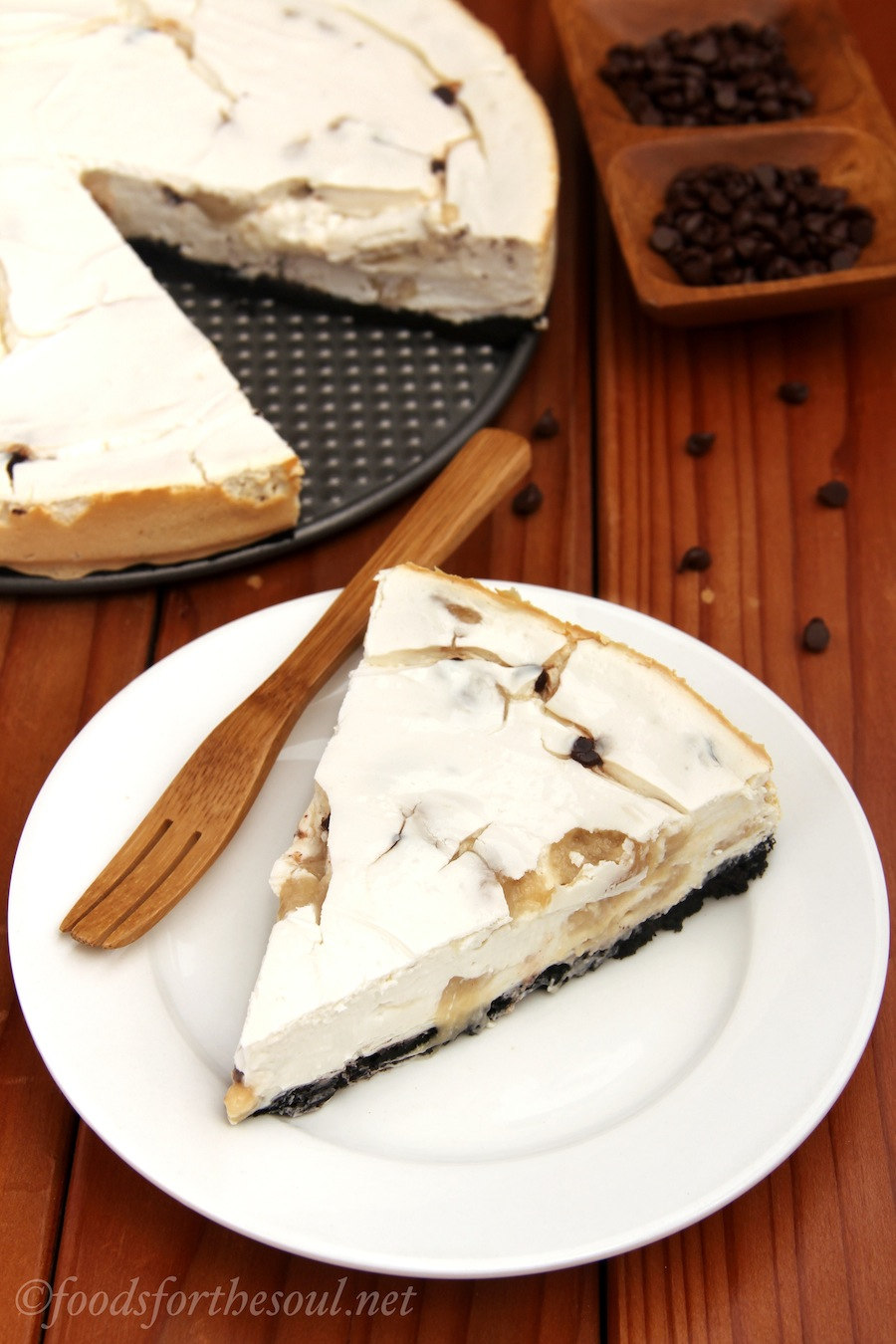 Chocolate Chip Cookie Dough Cheesecake. You could eat 4 slices of this and still consume fewer calories than from 1 piece of the Cheesecake Factory's! | by Foods for the Soul {foodsforthesoul.net}