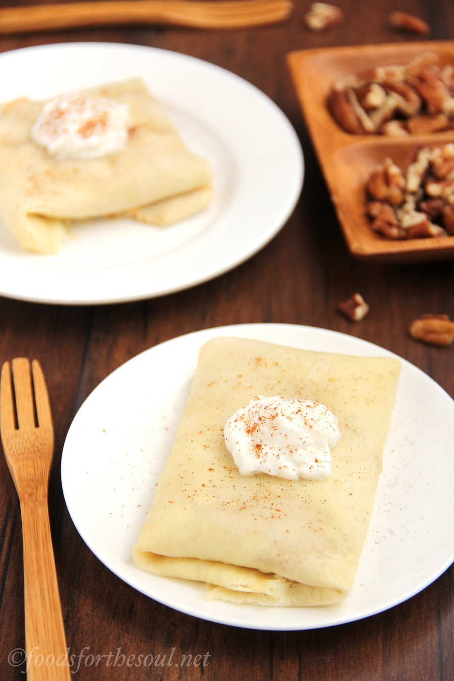 Pumpkin Pie Crêpes. They look and taste sophisticated but are SO easy to make! | by Foods for the Soul {foodsforthesoul.net}