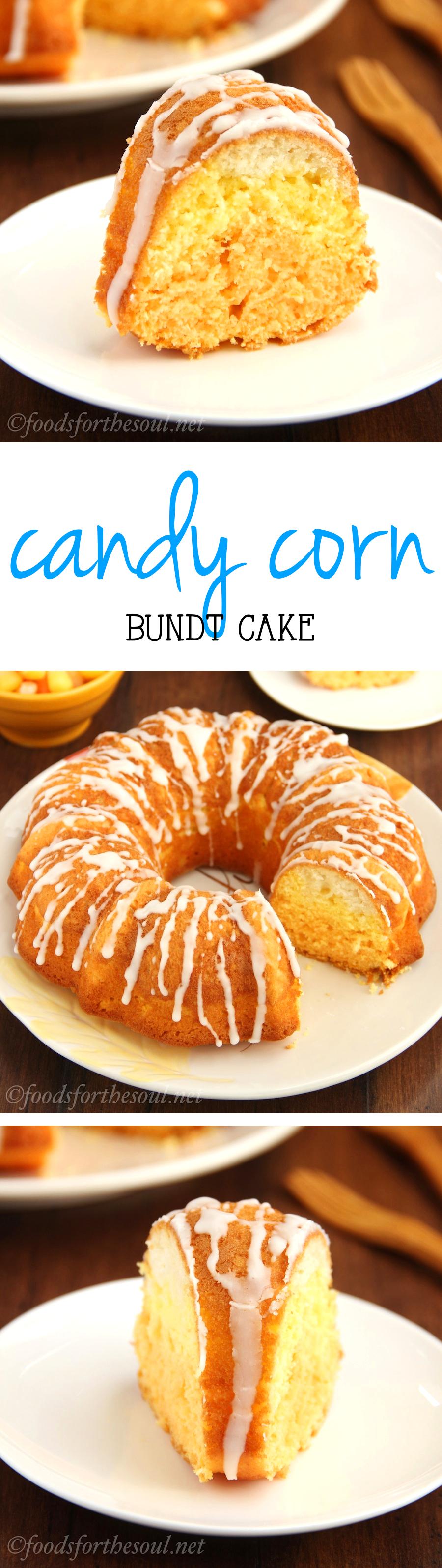 Skinny Candy Corn Bundt Cake -- so cute & fun! Perfect for Halloween!