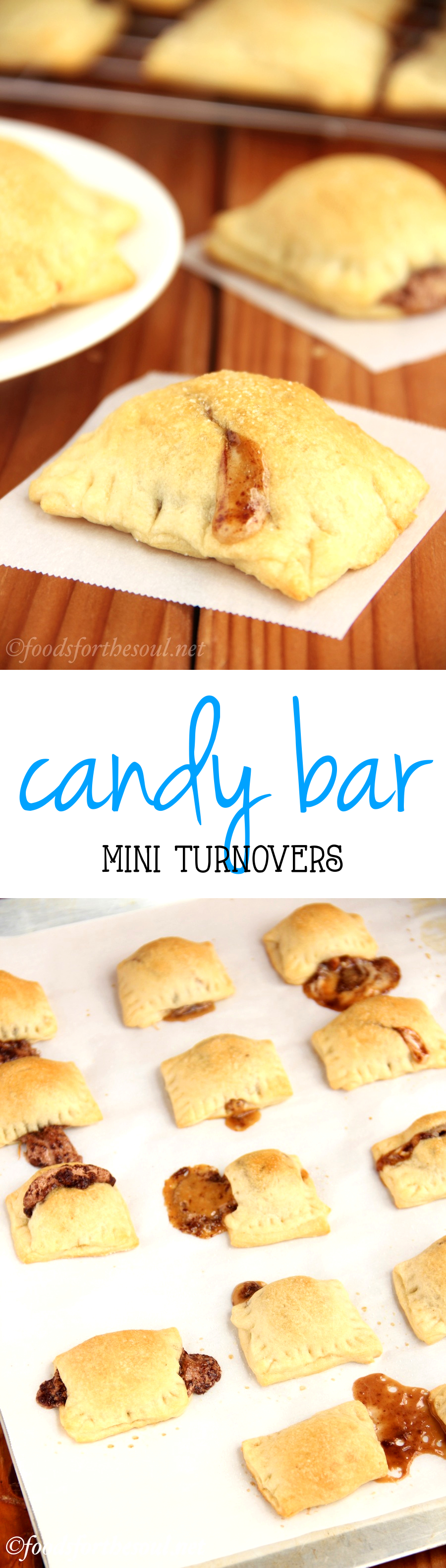 Mini Candy Bar Turnovers -- only 4 ingredients! Perfect for extra Halloween candy!
