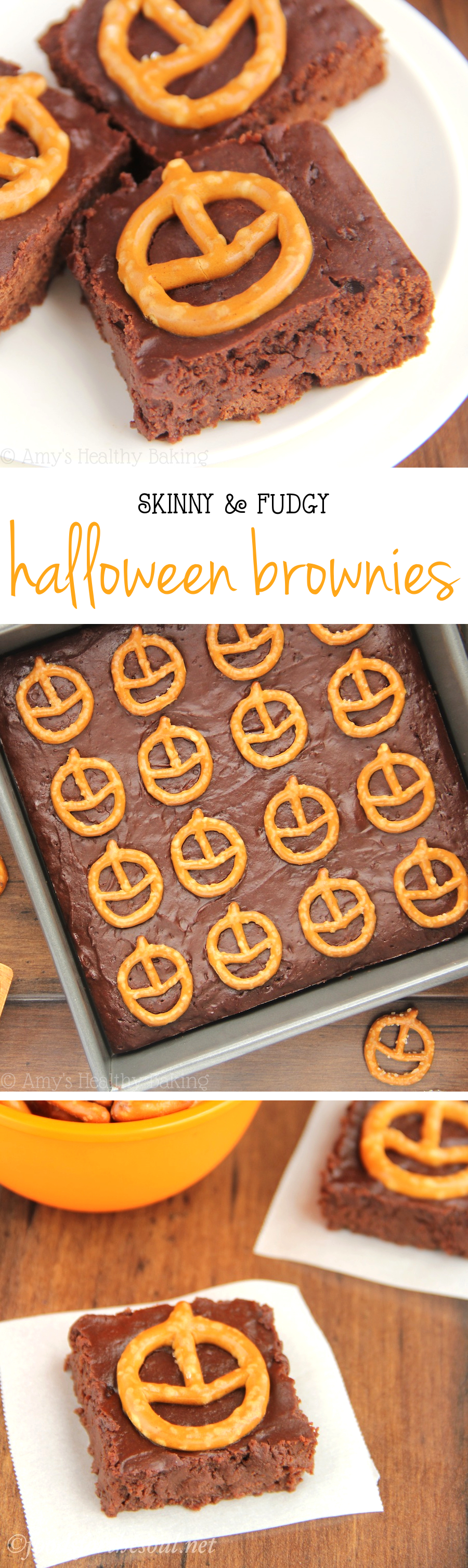 Skinny & Fudgy Halloween Brownies -- so rich & secretly healthy! A super cute & easy treat!