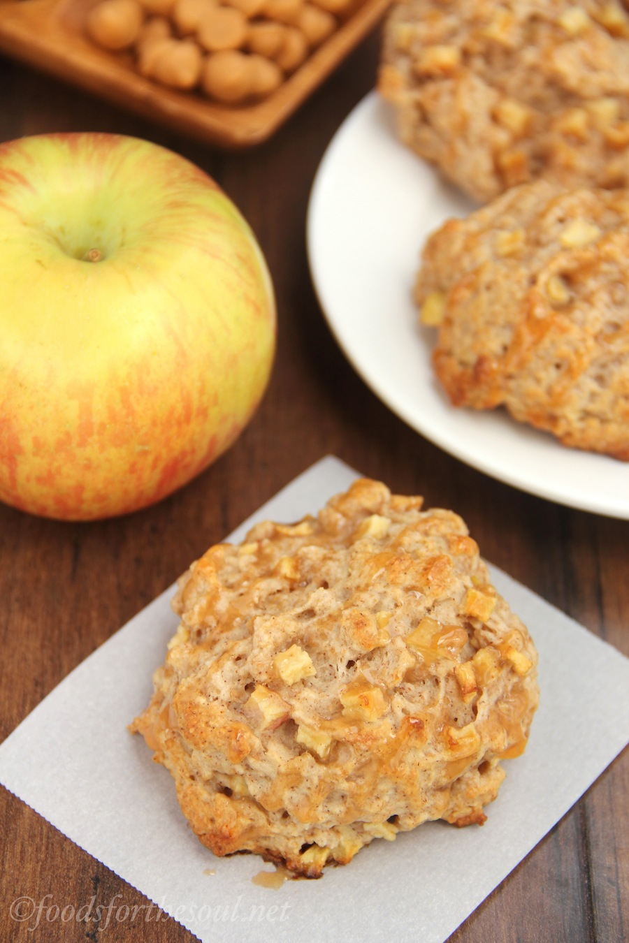 Caramel Apple Scones -- the easiest, moistest recipe ever. They barely take 45 minutes to make!