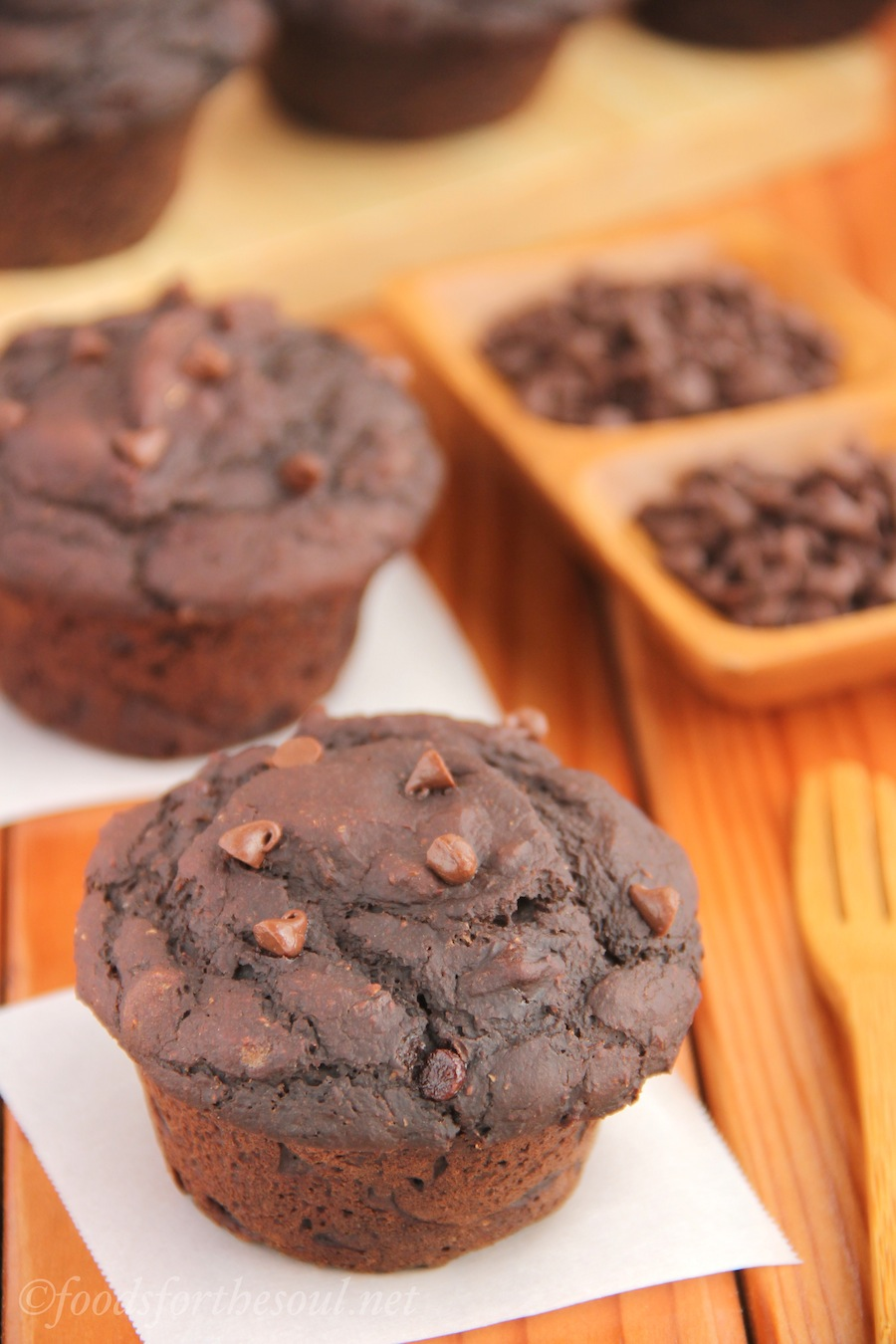 Double Chocolate Muffins (Sugar-Free) -- so rich & moist, you'll never guess they're healthy. Plus the 3 secrets to tall bakery-style muffins!