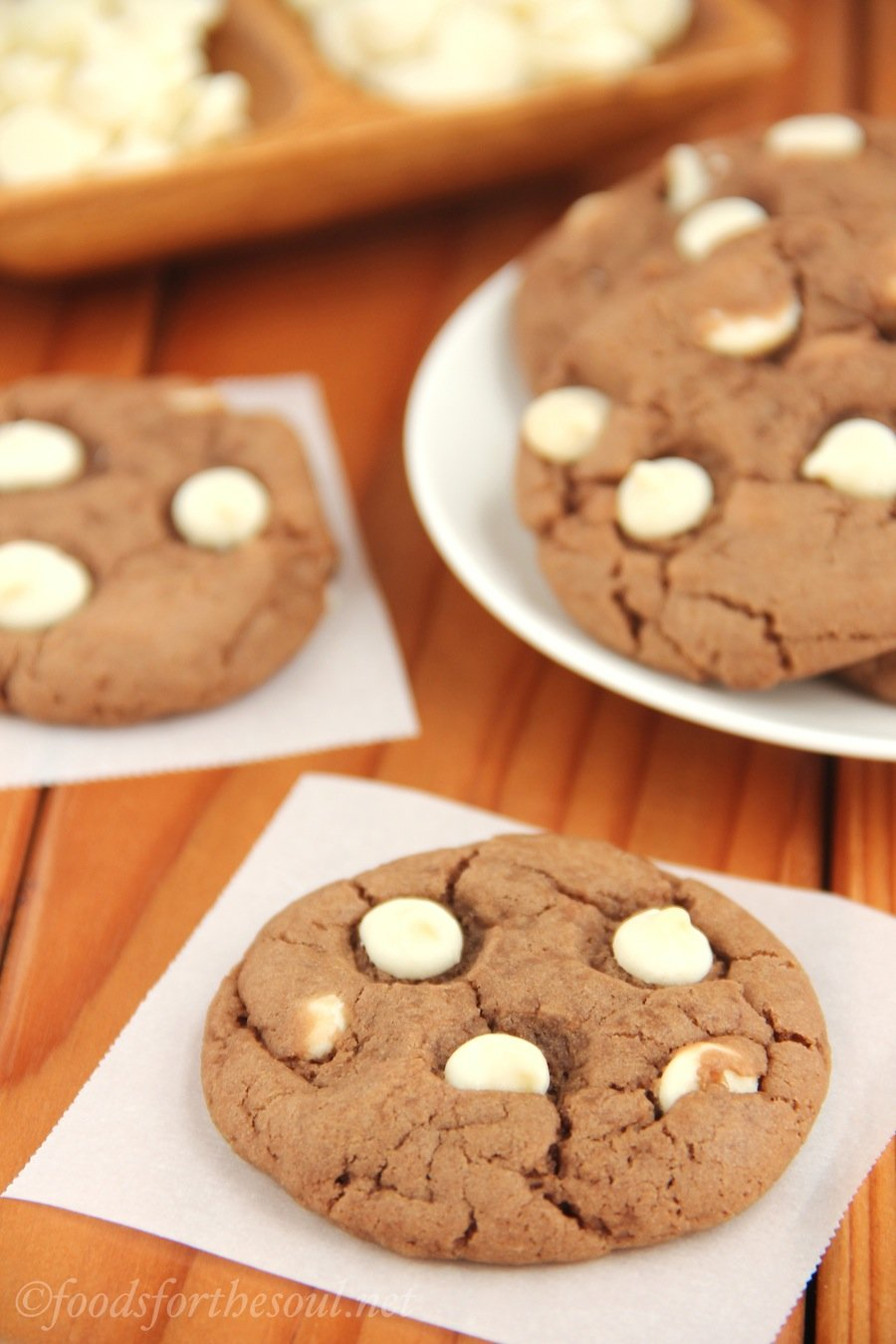 White Chocolate Nutella Cookies -- super soft, extra chewy, and secretly healthy! {Recipe at foodsforthesoul.net}