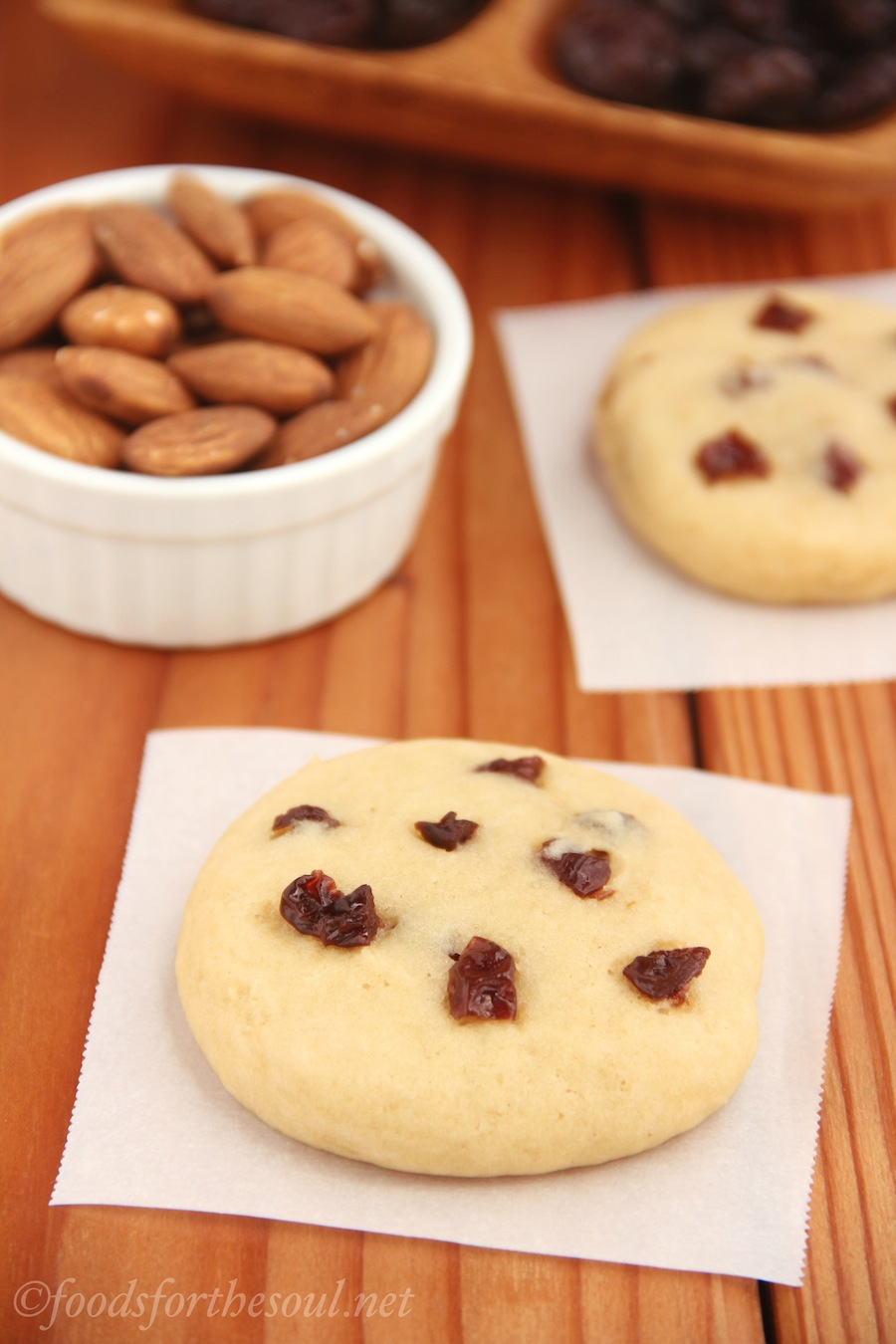 Cherry Almond Cookies -- the perfect combination of soft, sweet, & tangy. And they're so easy to make! {Recipe at foodsforthesoul.net}