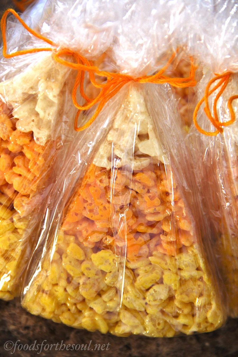 Candy Corn Rice Krispie Treats -- perfect for Halloween! {Recipe at foodsforthesoul.net}