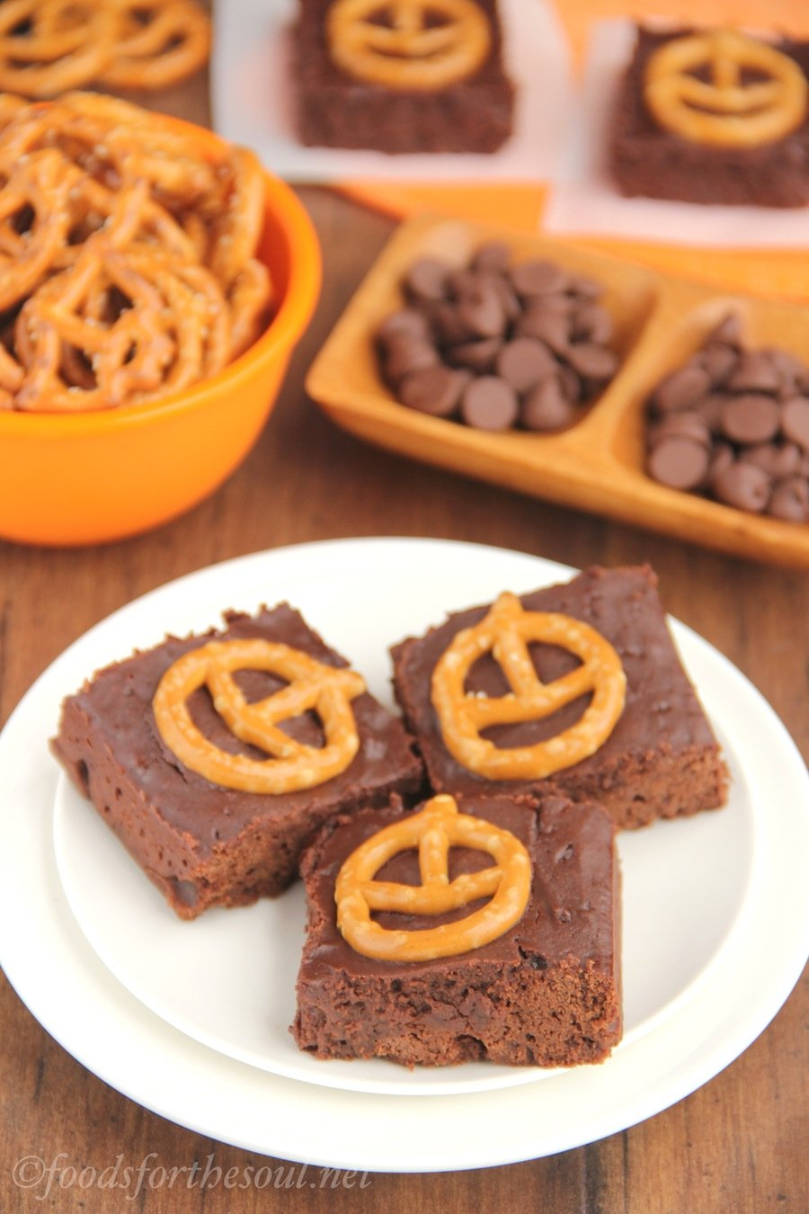 pumpkin pretzel halloween brownies extra fudgy but still healthy rich chocolate