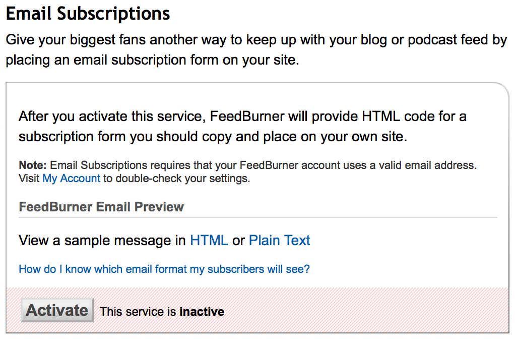setting feedburner email subscription your blog