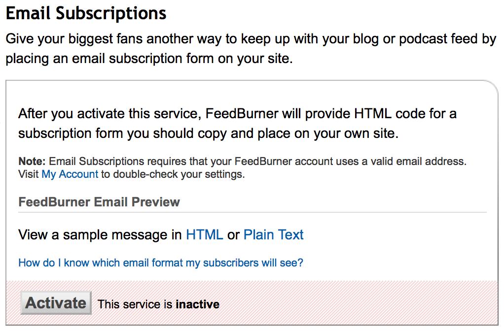 setting feedburner email subscription your blog