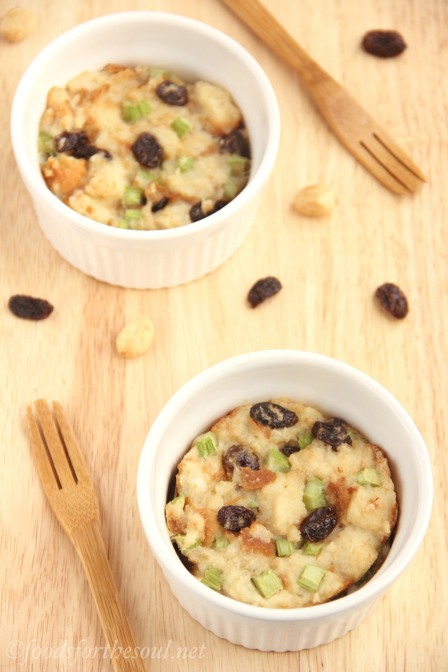 Ants on a Log Stuffing -- made with PB, celery, and raisins. A light & easy kid-friendly Thanksgiving side dish!
