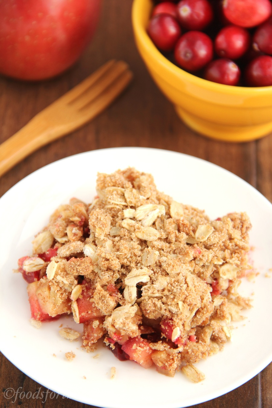 Cranberry Apple Crumble -- an easy & satisfying low-fat dessert. There's a full serving of fruit in every slice!