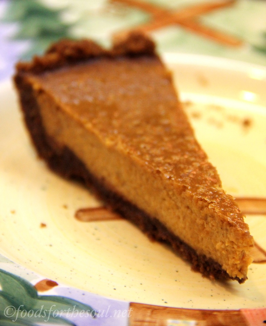 Make your pumpkin pie even easier with a gingersnap crust! (And a secret layer of melted chocolate!)