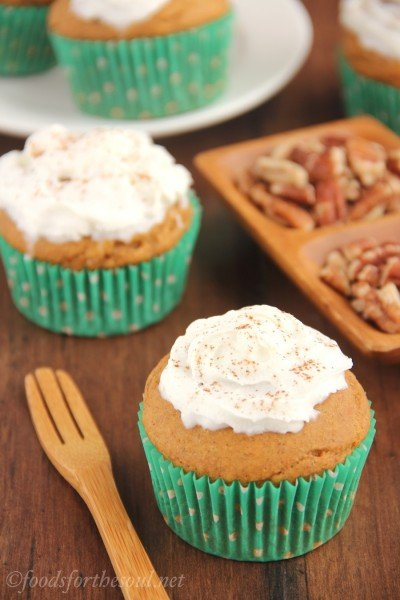 Butterscotch-Filled Pumpkin Cupcakes with Whipped Cream