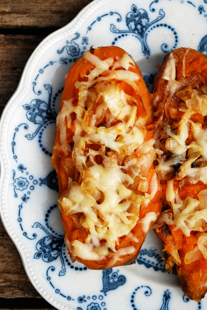 Twice Baked Sweet Potatoes -- a great Thanksgiving side, especially for vegetarians! {Sunday Funday #6 on foodsforthesoul.net}