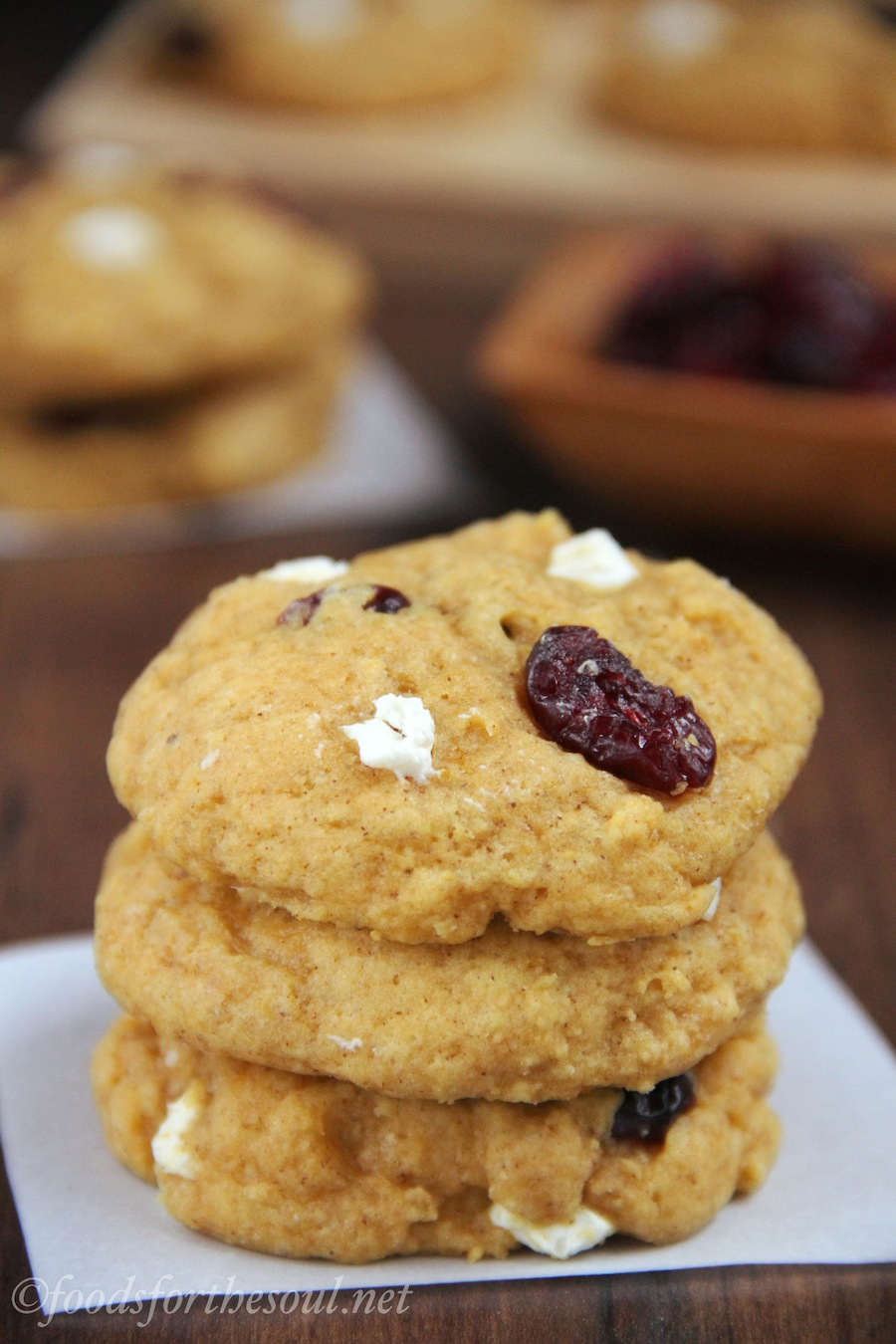 Cranberry Cream Cheese Pumpkin Cookies -- soft & chewy, not cakey. The perfect pumpkin cookies!