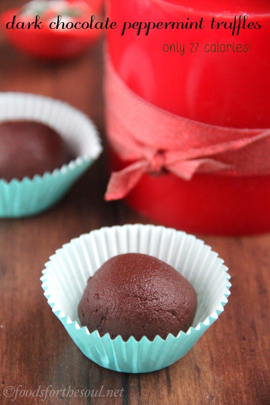 Dark Chocolate Peppermint Truffles -- only 27 calories each! {vegan & clean-eating}