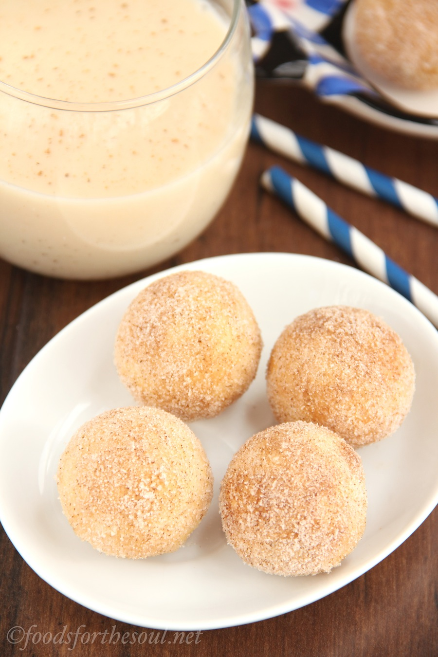 Skinny Eggnog Donut Holes -- only 41 calories each!