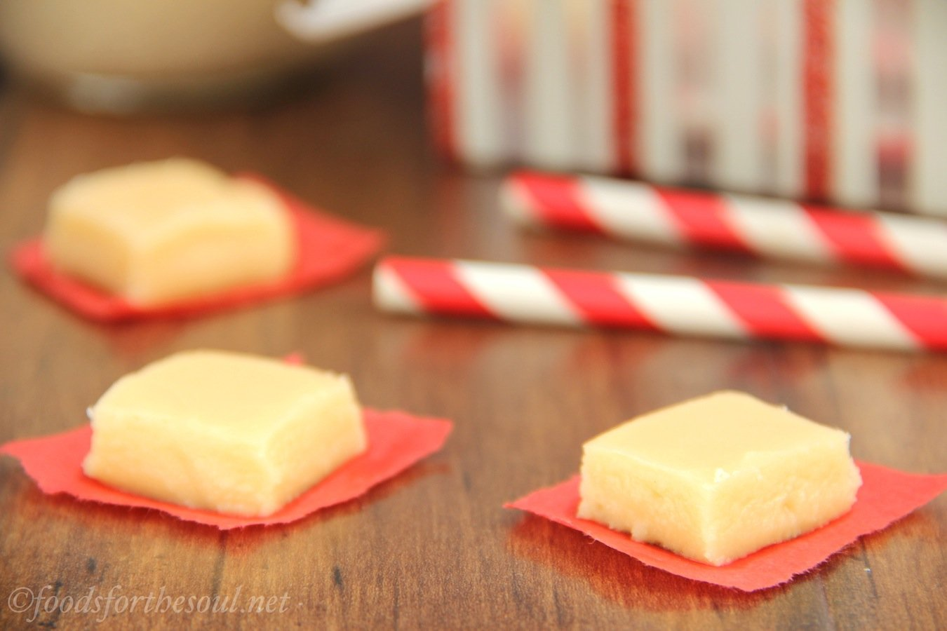 Skinny Eggnog Fudge -- only 4 ingredients & no candy thermometer necessary. Indulge without the guilt!