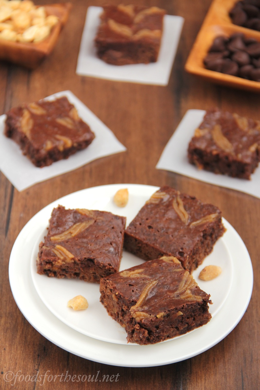 Fudgy Double Peanut Butter Brownies! They have Reese's PB Cups inside & swirls of PB on top. Rich, moist and decadent -- you'd never believe they're actually skinny!
