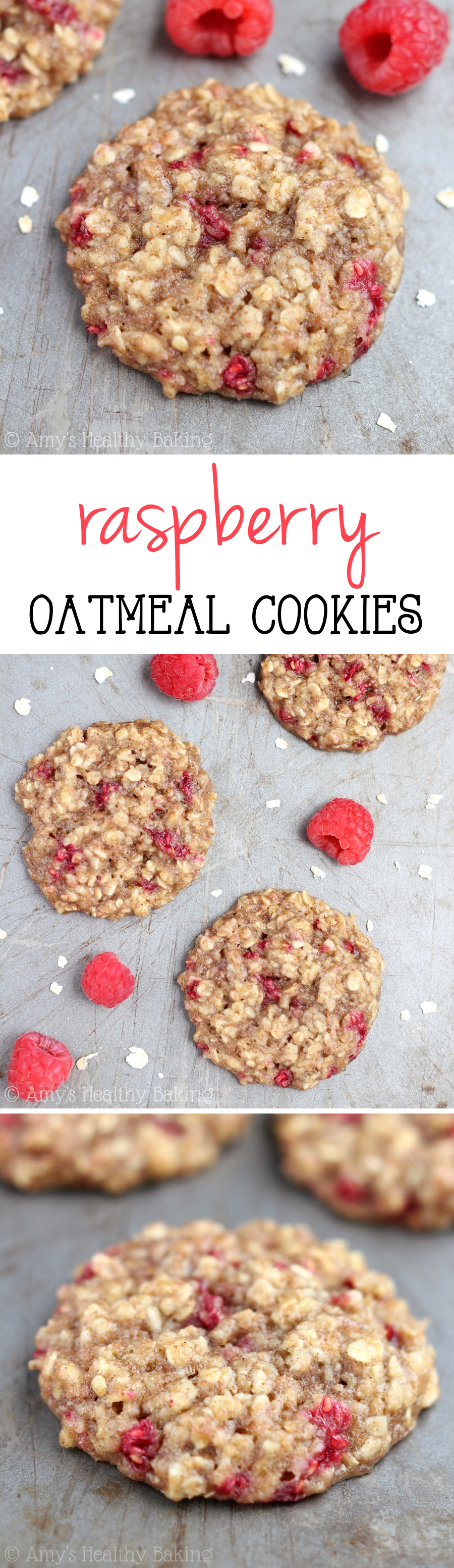 Clean-Eating Raspberry Oatmeal Cookies -- these skinny cookies don't taste healthy at all! You'll never need another oatmeal cookie recipe again!