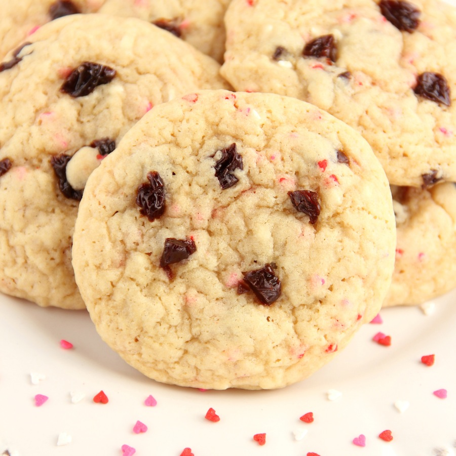 Cherry Funfetti Valentine Cookies
