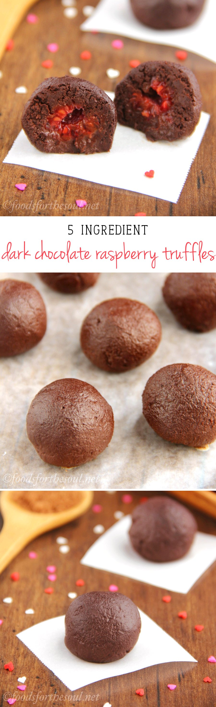 Dark Chocolate Raspberry Truffles -- only 5 ingredients & 28 calories each! An easy skinny, clean-eating treat. They don't taste healthy at all!