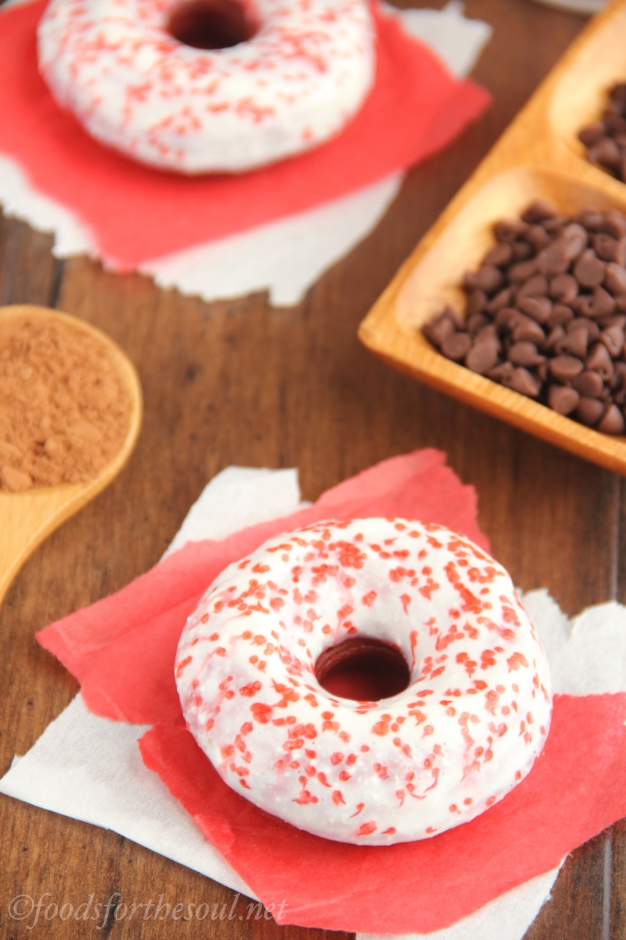 Baked Red Velvet Donuts -- so full of flavor, you won't miss the fat!