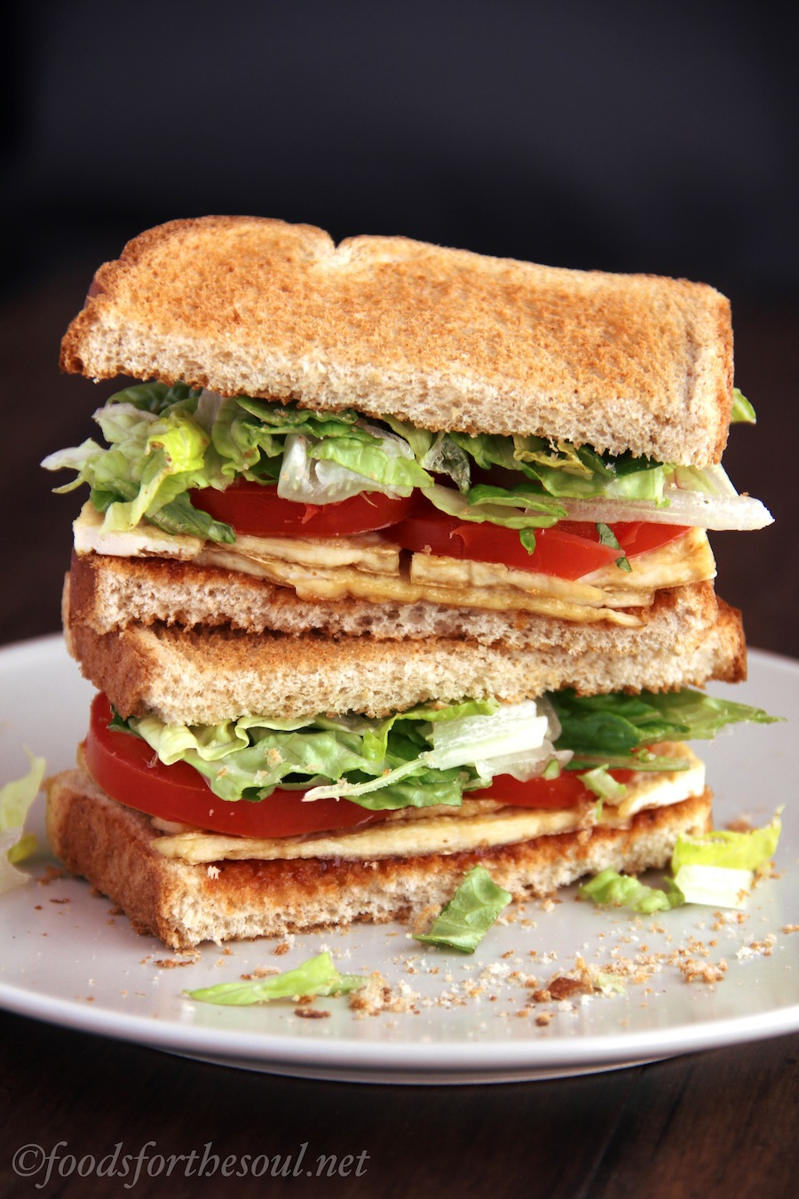 This vegan BLTT shaves off over 300 calories from the typical sandwich!