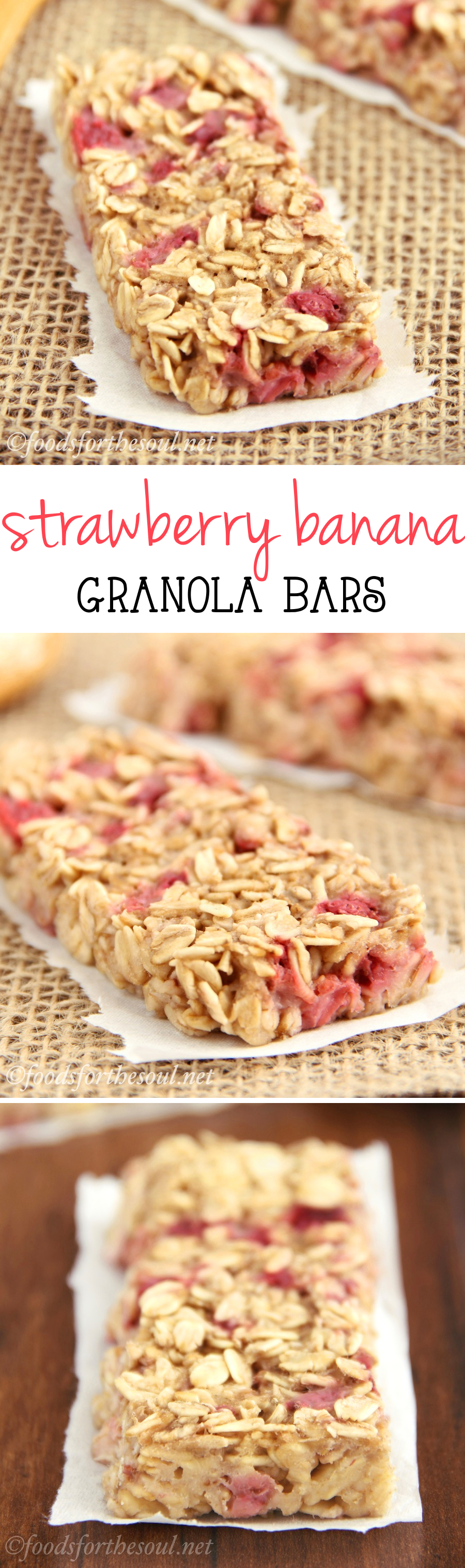 A simple recipe for skinny, clean-eating Strawberry Banana Granola Bars. So much better than the granola bars sold in stores!