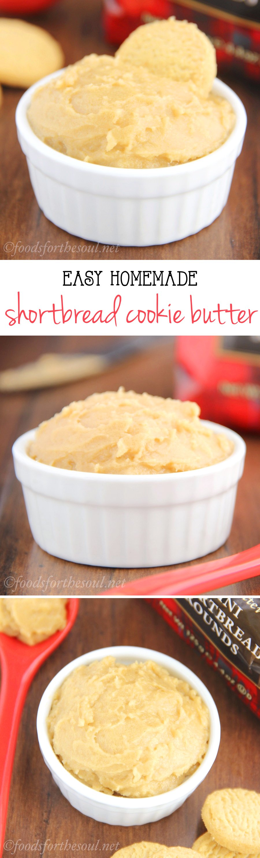 Shortbread Cookie Butter Spread -- a homemade version of Biscoff Spread! 4 ingredients + 2 minutes = seriously addictive.