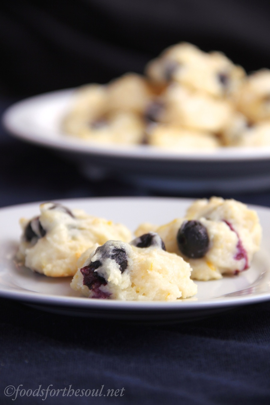 Blueberry Lemon Yogurt Cookies -- an easy recipe for flavorful fat-free cookies!