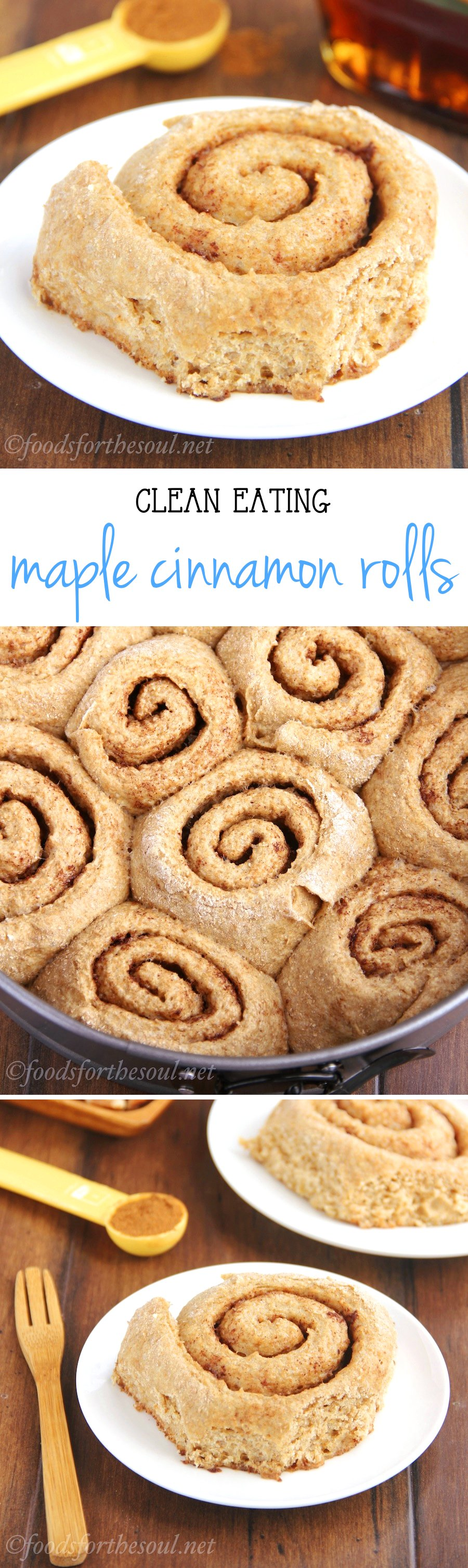 Clean-Eating Maple Cinnamon Rolls -- a lightened up version with almost NONE of the fat! They're just 145 calories & don't taste healthy!