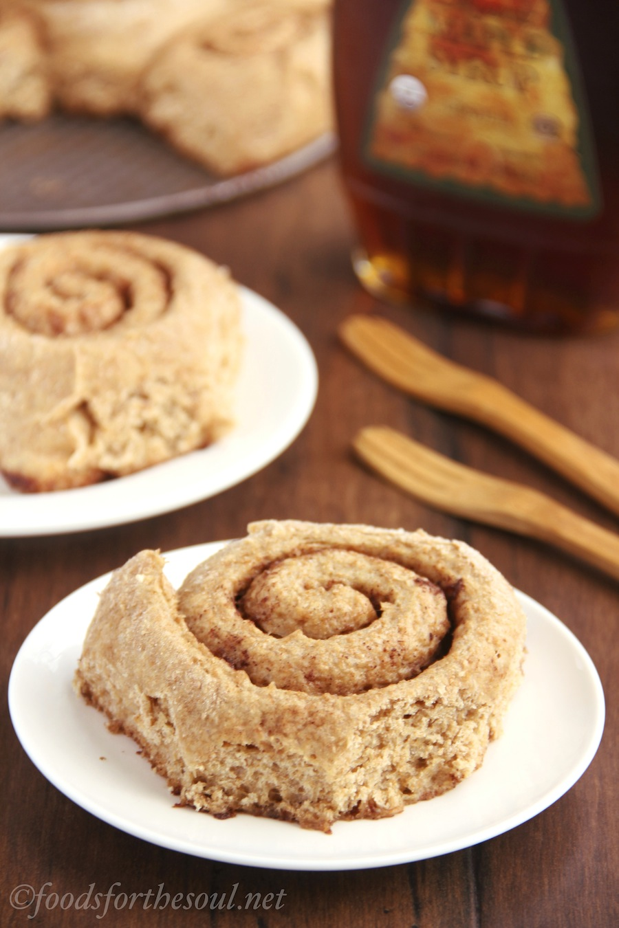 Fluffy whole wheat cinnamon rolls made with NO refined sugar! An irresistible healthy, clean eating breakfast treat.